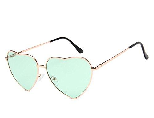 Flowertree Women's S014 Heart Aviator 55mm Sunglasses (light green, ()