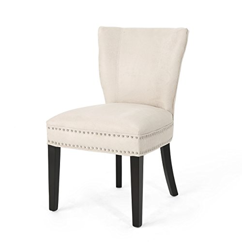 Christopher Knight Home Underwood Traditional Microfiber Dining Chair, Ivory + Dark Brown