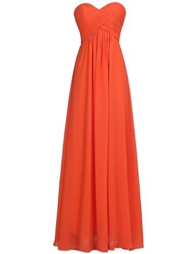 (Chiffon Long Bridesmaid Dresses Sweetheart Prom Evening Gowns Party Formal Plus Size Dress Orange US 24W)