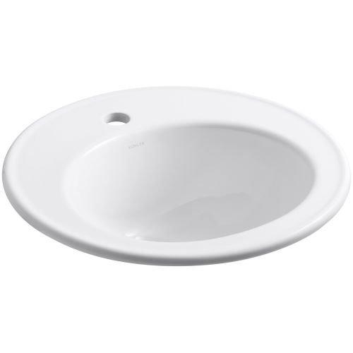 KOHLER K-2202-1-0 Brookline Self-Rimming Bathroom Sink, White