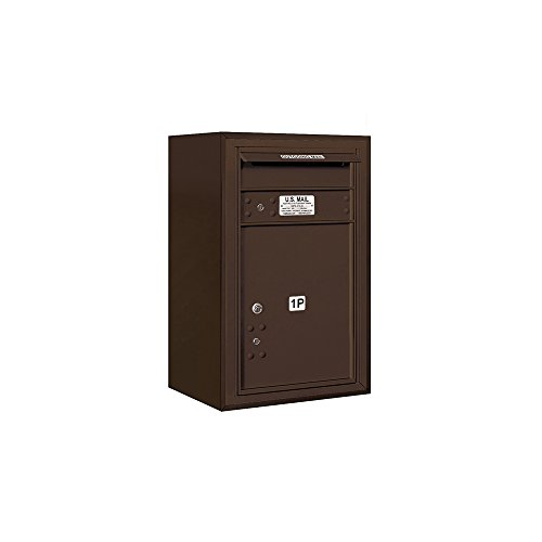 (Salsbury Industries 3807S-1PZFU 4C Surface Mounted Horizontal Mailbox, Front Loading, Stand Alone Parcel Locker, 1 Pl5, Sups Access, Bronze)
