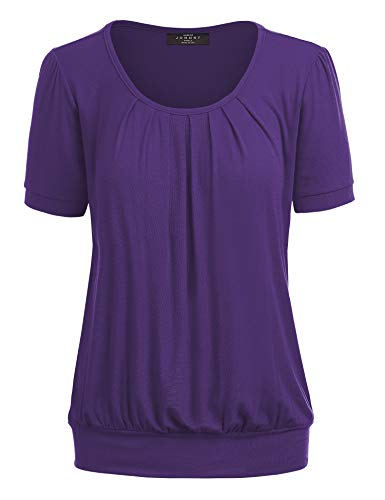 Collection Pleated Front Top - MBJ WT1175 Womens Scoop Neck Short Sleeve Front Pleated Tunic XXL Purple