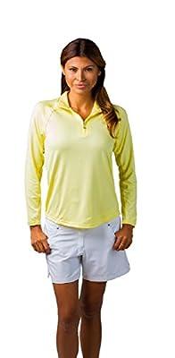 SanSoleil UV 50 Solid Zip Mock Neck Womens Top