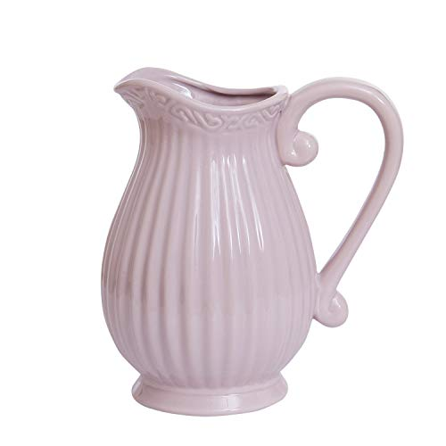 Ling's HOME Ceramic Vintage Style French Country Water Pitcher Flower Vase/Decorative Bouquet Holder with Handle