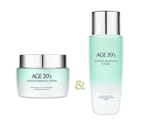 AGE 20's Aurora Essential Natural Moisturizing Toner 200ml and Water Cream 100g - 2017 brand new / collagen extract