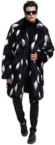 Lafee Bridal Men's Luxury Faux Fur Coat Jacket Winter Warm Long Coats Overwear Outwear