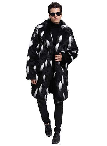 (Lafee Bridal Men's Luxury Faux Fur Coat Jacket Winter Warm Long Coats Overwear Outwear Black XL)