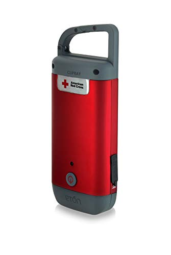 American Red Cross Clipray Crank-Powered, Clip-On Flashlight And Smartphone Charger, Hand Crank, Carabiner Clip, Lightweight, Compact Design, Eton ARCCR100R-SNG, 1-Pack, Red