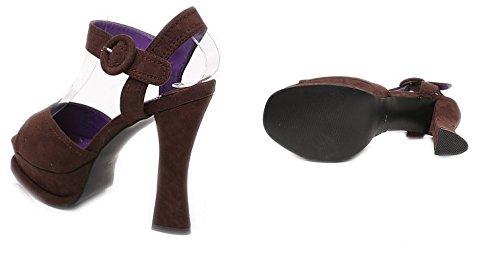 Women's chunky heels Spike High Heel Platform Strap Sandals Size 5-9 brown sandals
