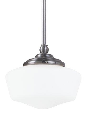 Sea Gull Lighting 65436-962 Academy One-Light Pendant with Satin White Glass, Brushed Nickel Finish