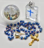 Fatima Rosary Beads with Holy Water /& Prayer Card.