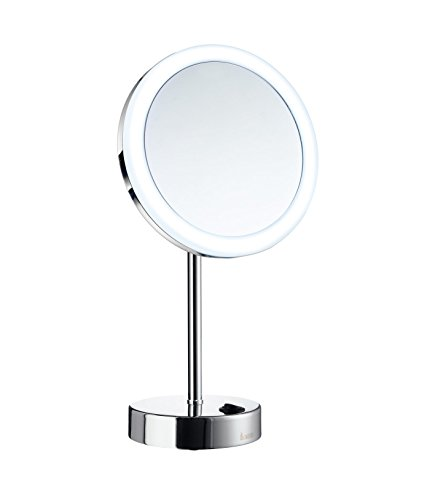 Smedbo FK484E Led Dual 5X Magnification Make-Up Mirror (Warm/Cool Lighted), Polished -