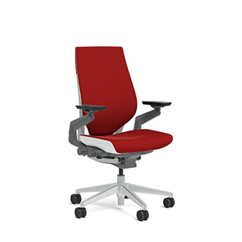 Steelcase Gesture Task Chair: Wrapped Back - Platinum Metallic Frame/Base/Seagull Accent - Standard Carpet Casters