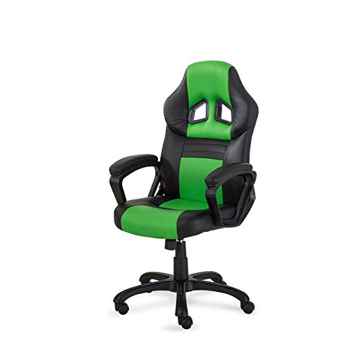 - Belleze Racing Style Executive Desk Chair Swivel Office Computer Task High-Back Gaming Pu Leather Seat, Black/Green