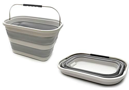 - SAMMART Set of 2-20.8L (5.49Gallon) Collapsible Rectangular Handy Basket/Bucket (2)