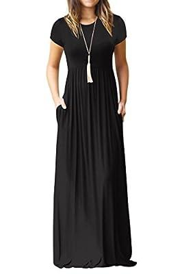 Grace Elbe Women's Short Sleeve Maxi Dress with Pockets Plain Loose Swing Casual Floor Length Long Dresses