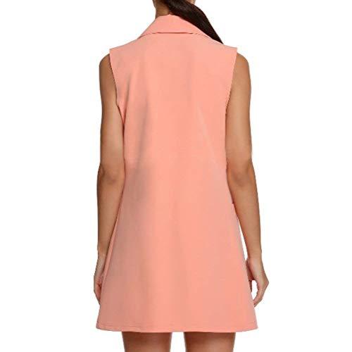 Pink Mujer Sin Elegante Bolsillos Hipster Oeste Prendas Modernas Sólidos Colores Otoño Delanteros Solapa Huixin Cómodo De Exteriores Outerwear Chaleco Mangas 1wH1dp