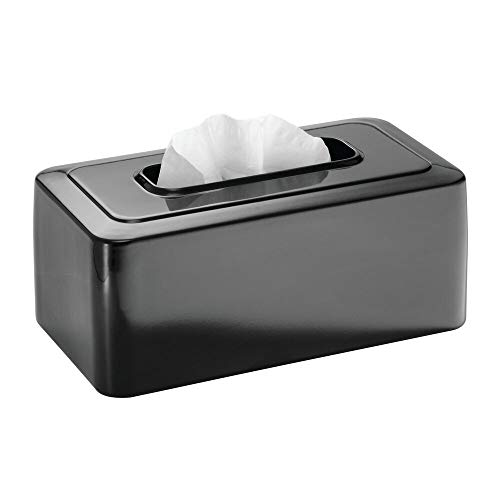mDesign Modern Metal Tissue Box Cover for Disposable Paper Facial Tissues, Rectangular Holder for Storage on Bathroom Vanity, Countertop, Bedroom Dresser, Night Stand, Desk, Table - Black