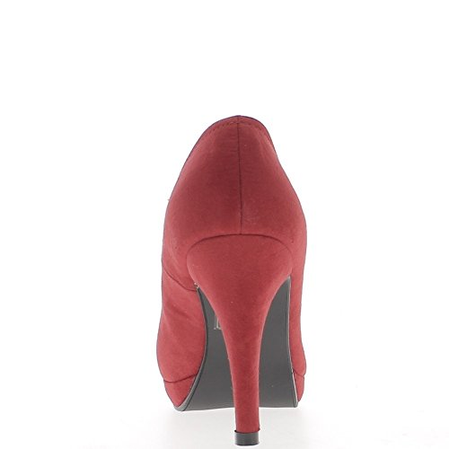 ChaussMoi Shoes Women red Heels 10cm Flanges and Platform Suede Look DeGYHgF