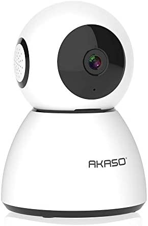 AKASO WiFi Camera Security Camera, 1080P FHD Smart Home Surveillance Camera, Baby Pet Monitor Work with Alexa, Night Vision, 2 Way Audio, Motion Detection, Remote Monitoring Cloud Storage P40