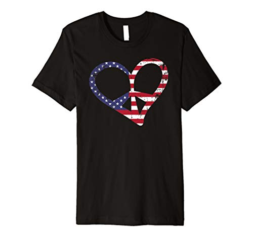 (Vintage USA Flag Peace Sign Heart Symbol 4th of July Gift Premium)