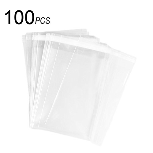 100 Pack 9x12 Inch Clear Resealable Cello / Cellophane Bags for Bakery, Candle, Soap, Cookie -