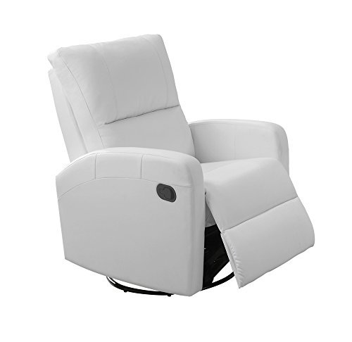 Glider Leather Full Swivel Recliner (Monarch I 8084Wh Swivel Glider Recliner, White)