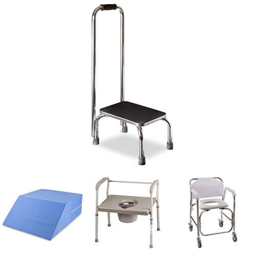 DMI Step Stool with Handle for Adults and Seniors with Ortho Bed Wedge Elevated Leg Pillow and Bedside Commode Chair 500 lb Capacity Heavy-Duty Steel Commode Toilet Chair