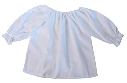 Girls 3/4 Long Sleeve Peasant Blouse (Girls, X-Large 10/12, White)