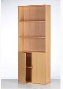 Madera armario estantería armario con puertas y 5 estantes ...