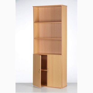 Wooden cupboard bookcase cabinet with 5 shelves doors for Kitchen cabinets amazon