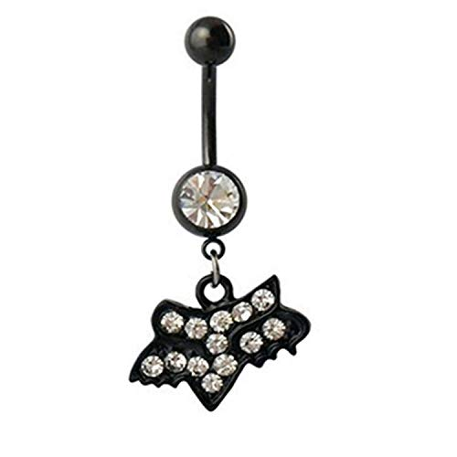 ihuoshang 1 Pc Steel Belly Button Ring Sexy Fox Dangling Navel Piercing Bar Cz Belly Body Jewelry 14g,Silver Clear Gem