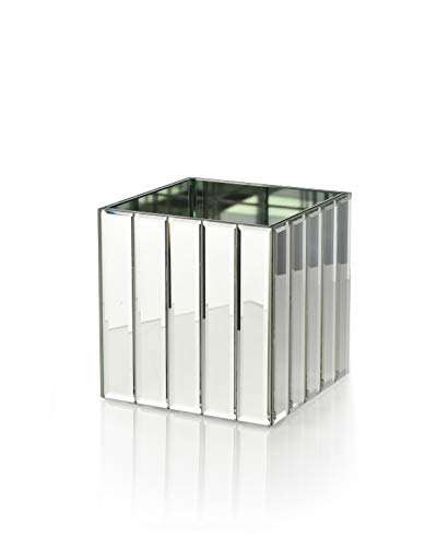 Serene Spaces Living Gatsby Mirror Strip Cube Vase - Art Deco Inspired Glass Vase with Mirror Finish, Measures 4