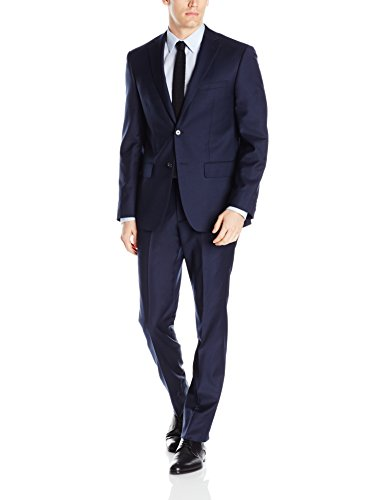 DKNY Men's All Wool Slim Fit Suit, Navy Twill, 40 Regular