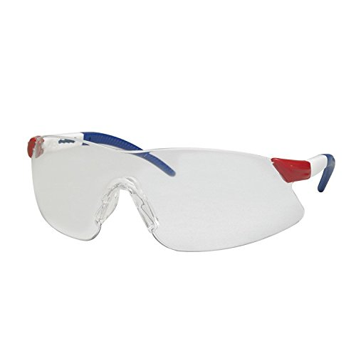 ERB 15427 Strikers Safety Glasses, Red, White, and Blue Frame with Clear Lens -