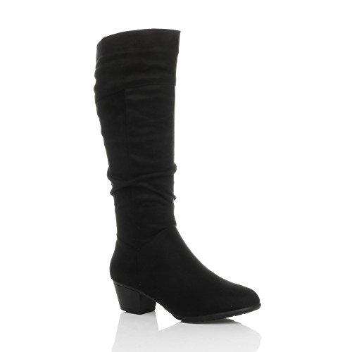 Ajvani Women's Cuban Mid Heel Zip Ruched Slim Calf Cowboy Knee Boots Size 5 (Slim Calf Boots)