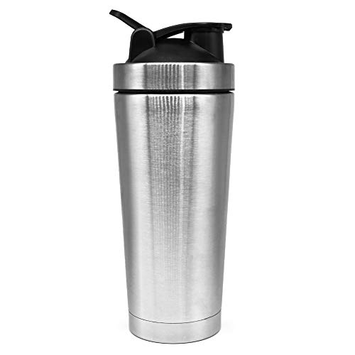 Fittime Protein Shaker Bottle Stainless Steel Water Cup with Metal Ball for Sports BPA Free 720ml/25oz