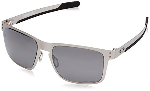 Oakley Men's OO4123 Holbrook Metal Square Sunglasses, Satin Chrome/Prizm Black Polarized, 55 mm