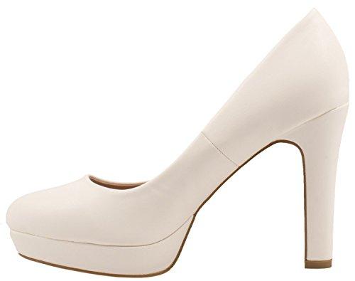 tacco donna plateau Bianco moderna alto e con Scarpe Elara qIzw66
