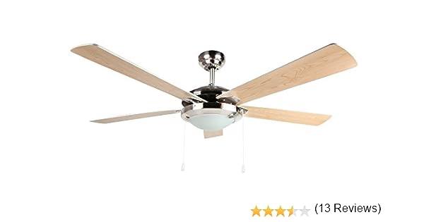 Orbegozo CP 81132 Ventilador de techo con luz, 5 palas reversibles, 132 cm de diámetro, potencia de 60 W y 3 velocidades: Amazon.es: Hogar