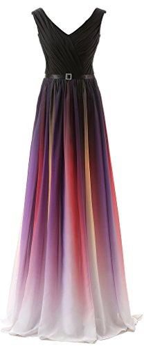 Eudolah Damen Abendkleider Partykleider Geburtstagkleider Bunte Tr?gerlos strapless V-Ausschnitt Rot Gr.42