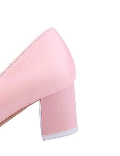 GGX/Damen Schuhe PU Sommer-/, Round Toe Heels Büro & Karriere/Casual geschoben Ferse Nachahmung Pearlblack/Pink/Weiß/ almond-us6 / eu36 / uk4 / cn36