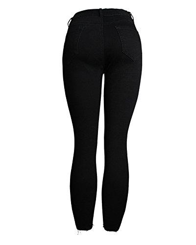 Skinny Classique Jeans Est Dchir Dcontract De Femmes Trous Noir Long 4nx0p8qBwB