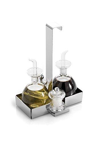 Oil and Vinegar Cruet plus Salt and Pepper Caddy (Oil Caddy Set)