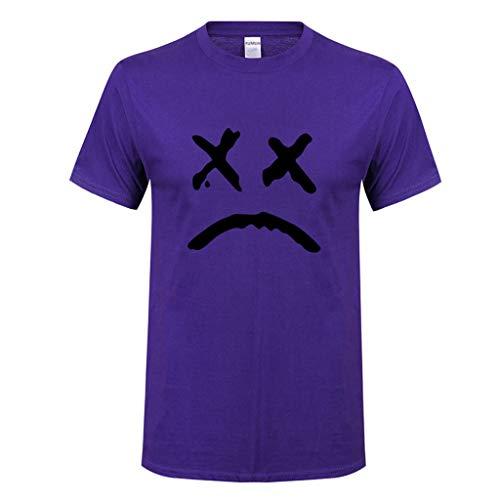 Simayixx Tops for Men Men's Summer Casual Slim Fit Single Short Sleeve Pullover Henley T Shirts Teen Boys Print Blouses Tee Purple