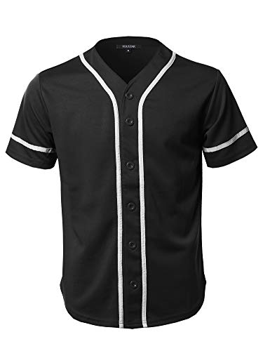 Youstar Camouflage Or Solid Front Button Closure Athletic Baseball Inspired Jersey Top Black M ()