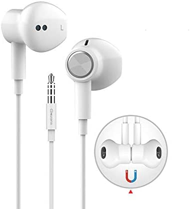 Glazata in-Ear Earphones Pure Sound Wired Headphones with Mic, Magnetic, in-Line Remote Audio Earbuds Headphones for iPhone Samsung Cell Phone, PC Tablet