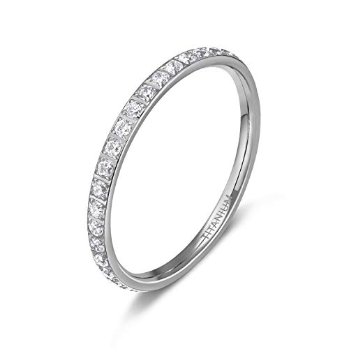 TIGRADE 3mm Women Titanium Eternity Ring Cubic Zirconia Anniversary Wedding Engagement Band Size 4 to 12.5 (2mm Silver, 7.5) by TIGRADE