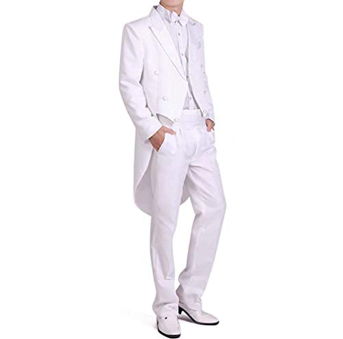Men Formal Magic Show Costume Tailcoat Jacket Tuxedo Suits 4 Piece Chorus Musician Cosplay Adult Magician Tailcoat (L, - Coat Fully Lined Pleats