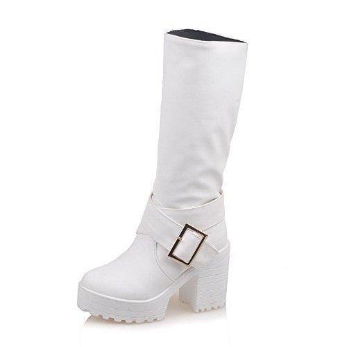 Allhqfashion Womens Tacco Chiuso Tacco Alto Materiale Morbido Mid-top Stivali Solidi Bianco